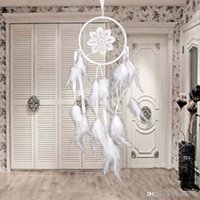 Wholesale Goose Decors - Luxury Indian White Lace Flower Circles Lace Dream Catcher Net With Goose Feather Dream Catcher Wall Hanging Car Decor Ornament