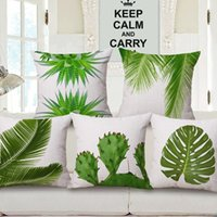 Wholesale Green Black Throw Cushions - 6 Styles Green Leaves Cushion Covers Tropical Vibes Plants Palm Tree Leaf Cactus Cushion Cover Sofa Throw Decorative Beige Linen Pillow Case