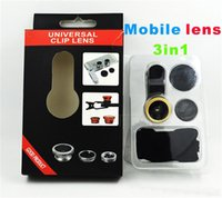 Wholesale Cheap Fishing Wholesale - 3 in 1 Universal Clip Fish Eye Wide Angle Macro Phone Fisheye glass camera Lens For iPhone Samsung Cheap Price+ Best quality