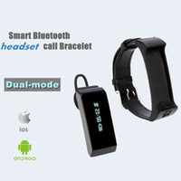 Wholesale Wrist Bluetooth Headset - K2 Smart Watch Bracelet Bluetooth 2 in 1 Stereo Headphone Headset Wristband Dual-mode Sleep Monitor Smartwatch With Box