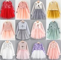 Wholesale Girls Korean Striped Dress - 6 styles 12 color Korean style new arrival Girl dress kids spring autumn Cartoon cat Cotton and gauze patchwork Pearl bow Dress casual dress