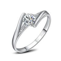 i̇sviçre elmas yüzüğü 925 toptan satış-Yüksek Qulity Radiant Elegance 925 Ayar Gümüş Beyaz altın Kaplama İsviçre Pırlanta Yüzük kadın moda takı Parmak Yüzük dropship 080231