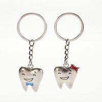Wholesale Teeth Double Ring - Lover Gift Cute key ring One Tooth Statement Jewelry Shaped Love Double Purse Bag Buckle Bag Pendant For Car Key chain keychain Wholesale
