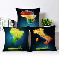 cartes coussins achat en gros de-Carte du monde imprimé oreillers décoratifs pour coussins de voiture lin coussins taille taille bureau occasionnels canapé Canapé