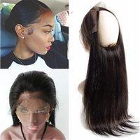 saçlı ön kapak toptan satış-Brezilyalı Düz Saç Ön Koparıp 360 Dantel Frontal Kapatma Tam Dantel Cepheler Ile Bebek Saç 360 Dantel Saç Parça