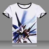 Wholesale Casual Costumes For Men - Anime Mobile Suit GUNDAM T-shirts Black O-Neck Short Sleeve Tops GUNDAM Printed Fashion Tees for Summers Costumes