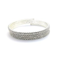 Wholesale Arms Small - 1-10 Rows Elegant Small Crystal Rhinestone Bangle Bracelet Silver Plated Arm Jewelry Hot Sale Spiral Arm Bracelet for Women