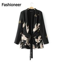 Women outerwear blazers - Fashioneer Fashion Women Blazer Suit Waist Belt Red crowned Crane Print Blazers and Jackets Ladies Office Wear Spring Autumn Outerwear