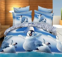 Wholesale Queen Quilt Doona Covers - Penguin Bedding sets 3D cute quilt duvet cover bed in a bag sheet bedspread linen doona bedset Animal print Queen size Full 4PCS