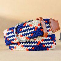 Wholesale Leather Beaded Belt 38 - MS network explosion canvas belt men's belt buckle belt leisure stretch knit wholesale