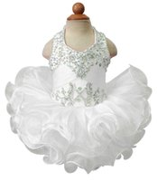 Wholesale Infant Baby Girl Pageant Dresses - Pageant Cupcake Dress For Baby Girls Halter Colorful Beaded Mini Gown Toldder Princess Ruffles Tutu Dress Infant Girls Short Beautiful Dress