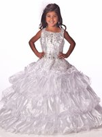 Великолепный цветок Gageant Girl's Gowns Sexy Beading Organza Ruffled Four-Layeres Crystal Ruched Little Girl Flower Girls 'Dresses 2017