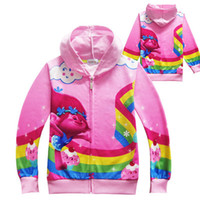 Wholesale toddler pink jacket - Spring Toddler Sweatshirts for Girls Zipper Hoodies Cartoon Trolls Brand 2017 Kids Children Infantil Clothing Teenagers Jackets