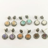 Novo! 5Pair Pave Rhinestone Mixed Color Druzy Drusy Quartz De Pedra Round Shape Dangle Earrings Jewelry Finding