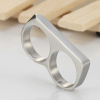 Wholesale Two Finger Ring Band - Men's Womens Two Fingers Knuckle Duster Minimalist Stainless Steel Bar Ring