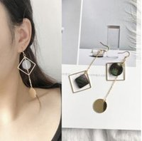 square dangler - Simply Shell Circle Earrings Square Long Dangler Fashion Women Charm Studs Geometric Asymmetric Vintage Jewelry Girls Gift