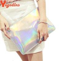 Wholesale Silver Envelopes - Yogodlns 2017 Laser women bags Designer clutch bag Fashion women messenger bags ladies Envelope Clutches handbag