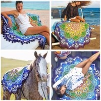 Wholesale Beach Towel Vintage Lotus Print Round cm Bath Towels Tassel Luxury Rug Fashion Polyester Carpets for Women