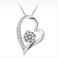 Wholesale Heart Diamond Pendants - High quality Austrian crystal Diamonds Love Heart Pendant Statement Necklace Fashion Class Women Girls Lady Swarovski Elements Jewelry