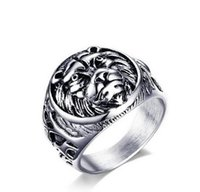 Wholesale Stainless Ring Lion - High quality Stainless Steel Ring The lion Biker Animal Ring Fashion Jewelry 18mm Men Ring Punk Anillons Hombre US size 7-11