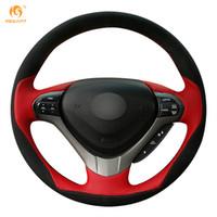 Wholesale Honda Spirior - Mewant Red Leather Black Suede Car Steering Wheel Cover for Honda Spirior OId Accord