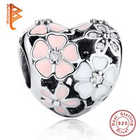 Wholesale Original 925 Silver Chain - BELAWANG Wholesale 925 Sterling Silver Charms Poetic Blooms Enamel CZ European Charm Beads Fit Snake Chain Bracelet DIY Original Jewelry