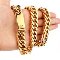 Beichong Heavy MENS 24K Solid Gold Finish Thick Miami Cuban Link Chaîne en acier inoxydable Collier Homme