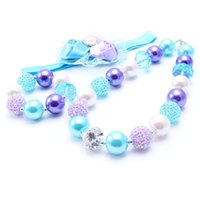 MHS.SUNR Blue + Purple NecklaceBracelet Headband 3PCS Set Birthday Party Gift Toddlers Girls Bubblegum Baby Kids Chunky Necklace Jewelry