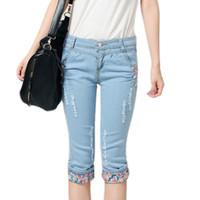 Wholesale Wholesale Plus Sizes Jeans - Wholesale- New women summer casual blue skinny slim pencil pants trousers capris female ripped mid jeans plus size Free shipping HS1211