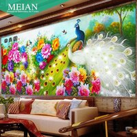 Wholesale White Peacock Paintings - DIY 2016 New Crafts Perfect decoration 43 Kinds of color 5D Diamond Painting White Peacock Flower Diamond Embroidery Gift
