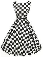 ingrosso abito bianco audrey-Plaid in bianco e nero anni '50 anni '60 Abiti estivi A-line Pinup Audrey Hepburn Style Party Donna Retro Abito rockabilly
