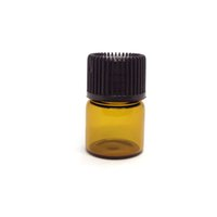 Wholesale Wholesale Ml Vials - 1 ML (1 4 dram) Amber Glass Vial Perfume Sample Bottle With Orifice Reducer & Black Plastic Cap