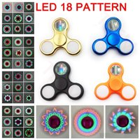 Wholesale Light Up Spin Top - LED Light Up Fidget Spinner 11 LED Beads 18 Patterns Replaceable Battery finger spinning top lighting EDS hand Spinners Toys in retail box