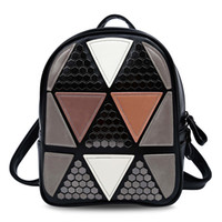 Wholesale Girls Open Strings - 2017 New PU Leather Triangular Applique Patch Bag Women Backpack Diamond Lattice Bag for Lady Girls