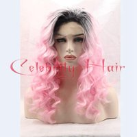 Wholesale Sexy Pink Wigs - New Synthetic Hair Products Ombre Sexy Synthetic Lace Front Wig Black To Pink Body Wave Two Tone Lace Front Wigs For Black Women