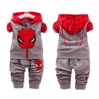 conjuntos de chándal de spiderman al por mayor-Traje Casual de bebé Niños Otoño Otoño Chándal Niños Niñas Ropa de manga larga Niños Sudadera con capucha y pantalones de Spiderman Niños Ropa