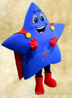 Wholesale Superman Mascot Costume - Hot new High quality Adult size superman blue star mascot costume Carnival Costume EMS Free Shipping