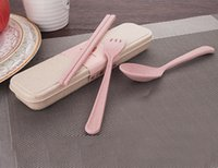Wholesale New Arrival High Quality Portable Reusable Wheat Straw Spoon Fork Chopsticks Travel Cutlery Set environment friendly Tableware