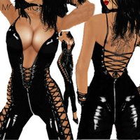 Wholesale Gothic Laces Catsuit - Wholesale- MOONIGHT Gothic Solid Black Halter Jumpsuit Faux Leather Sleeveless Lace Up Catsuit Hollow Out Clubwear Deep V Pole Costume