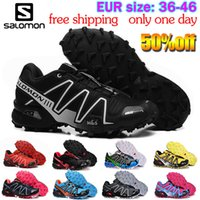 Wholesale Salomon Black - 2017 New men Speedcross 3 Shoes White Red BlacksalomonFashion Runs Breathable Shoes Free Shipping Size 40-45