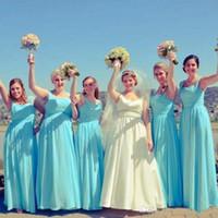 buz mavi düğün nedime elbiseleri toptan satış-2017 Yeni Ucuz Gelinlik Modelleri Spagetti Sapanlar Buz Mavisi Turkuaz Şifon Uzun Yaz Plaj Düğün Konuk Elbise Için Onur Törenlerinde Hizmetçi