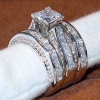 anéis de diamante tamanho 6.5 venda por atacado-Tamanho 5-12 top de jóias de luxo espumante 925 anel de casamento de prata esterlina corte princesa 3 em 1 topázio branco cz diamante mulheres banda anel set presente