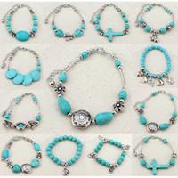 Wholesale Turquoise Cross Charm Bracelet Wholesale - Classical Cross Women's Retro Vintage Natural Turquoise Cute Tibet Silver Bracelet