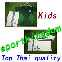 Wholesale National Children - Mexico national 17 18 football jersey kid kit home green 2017 CHICHARITO Long Sleeve G.DOS SANTOS R.MARQUEZ Mexico soccer Jersey child kit