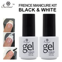 Wholesale Black French Nail Tips - Wholesale-Saviland 2pcs UV Gel Polish French Manicure Nail Art Black and White Colors Free Tip Guides Esmalte French Nail Gel