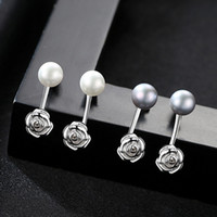 2017 Double Side Natural Grey Pearl Rose Stud Earrings 925 Sterling Silver Engagement Wedding Fashion Jewelry Women's Wholesale