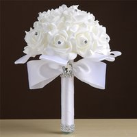 Wholesale Cheap Fake Flower Bouquets - 2017 Newest Bridal Flower Bouquets Handmade Cheap Fake Wedding Bouquets White Royal Blue Pink Green Beige Purple Red Crystal Flower CPA817