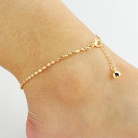 Wholesale Trendy Boots For Women - Simple Ankle Bells With Water Wave Chain Anklet Elegant Gold Ankle Bracelets Beach Jewelry For Women Boot Foot Jewelry