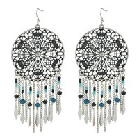 Wholesale Exotic Tassels - Indian Design Colorful Beads Big Chandelier with Exotic Circular Hollow Silver Tassel Earrings