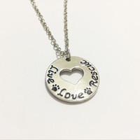 """Wholesale rescue pets - New Arrival """"Live Love Rescue""""pendant Necklace Heart pet Paw Print necklace Rescue Silver Dog Cat necklace Pet lover Jewelry"""